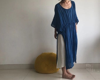 c389b12492f indigo hand-dyed dress cotton blue simple life natural handmade Buddhism  Meditation Zen