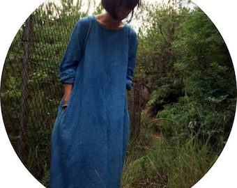 hand-dyed indigo long sleeve robe dress handmade vegetable tanned【natural life Zen】