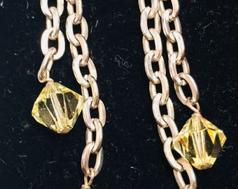 Gold Pink Yellow Dangle Earrings