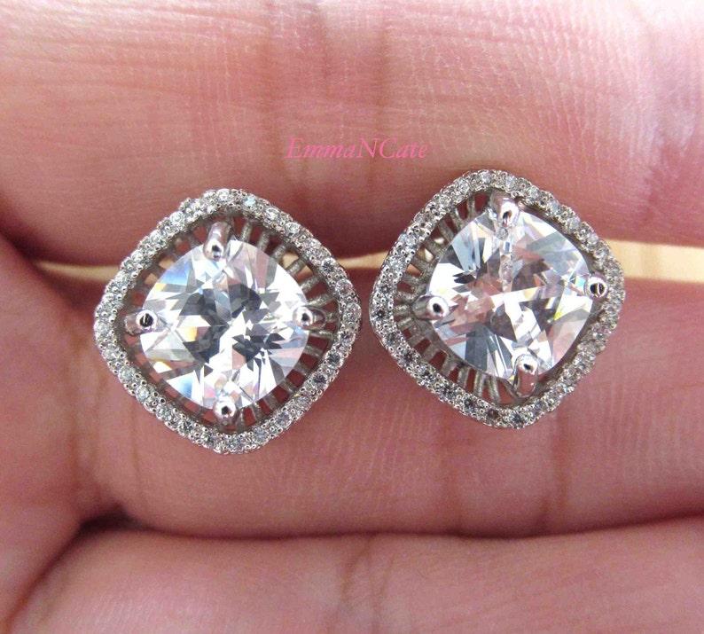 Asscher cut crystal earrings, princess cut stud earring, white gold filled,  cubic zirconia, bridal earrings, engagement jewellery | PIPPA