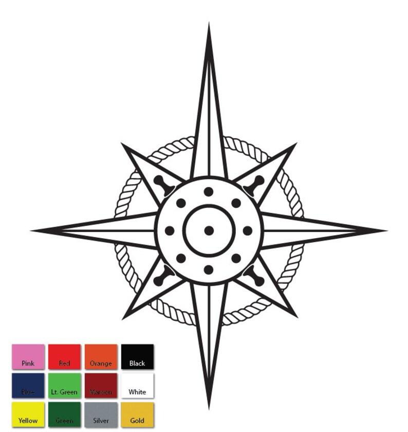 Custom Compass Rose And Light Rope Vinyl Sticker