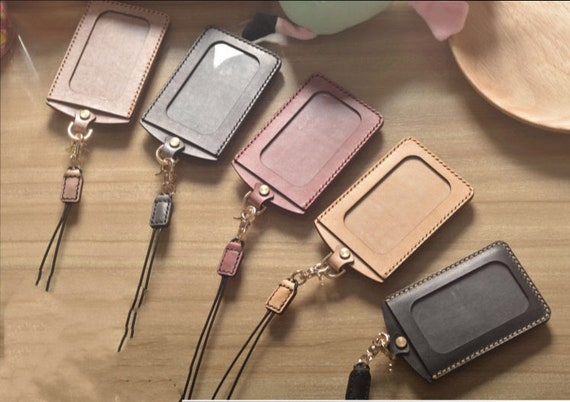 Badge Holder Leather ID Holder with Personalised Lanyard Pass Holder ID Card Holder Anniversary Gift