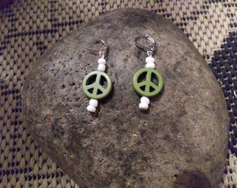 Green peace sign earrings handmade