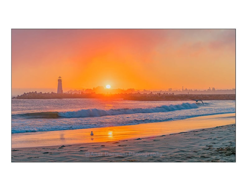 Landscape Sunset In Santa Cruz Photo Print Award Winner Vivid Orange Colors Landscape Photo Wall Art Nature Photography Beach Photo