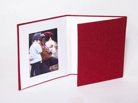 4x6 Red Matted Folio Linen Trifold Folio Triple Folio Etsy