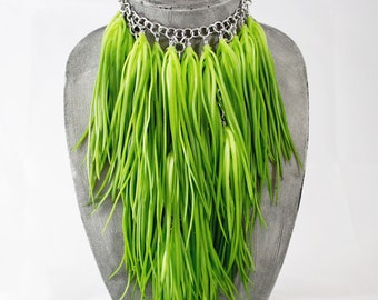 Faux Grass Fringe Necklace with Fake Rubber Foliage