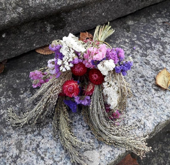 2019 harvest! STRAWFLOWERS ~ PURPLE natural air dried flower on stems