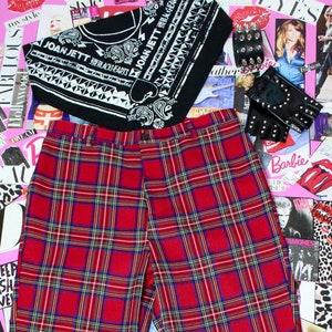 90/'s aesthetic Pants Red plaid pants 90s Scottish plaid High waist pants Women/'s Trousers XL,Red checkered pants Grunge Banana Pants
