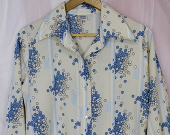 70s Blue Crane Transparent Blouse w Butterfly collar