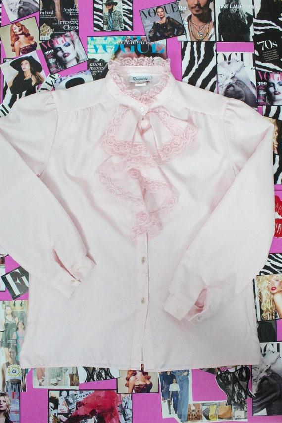 Vintage Pink Ruffle Blouse - image 3