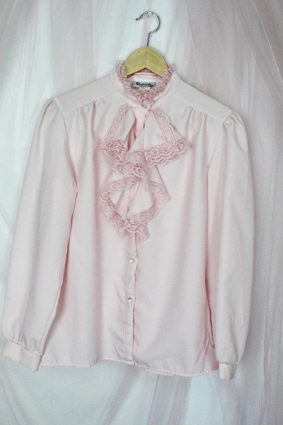 Vintage Pink Ruffle Blouse - image 5