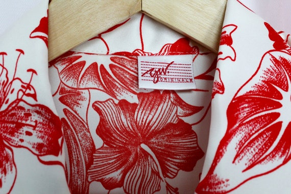 Vintage 70's Silky Red Floral Button up Blouse - image 6