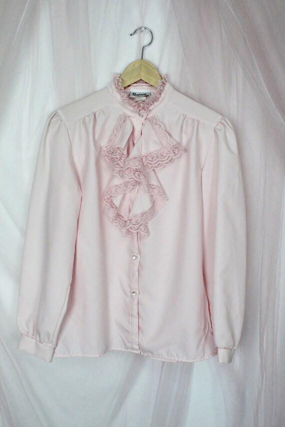 Vintage Pink Ruffle Blouse - image 6