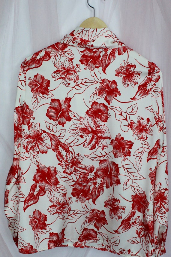 Vintage 70's Silky Red Floral Button up Blouse - image 7