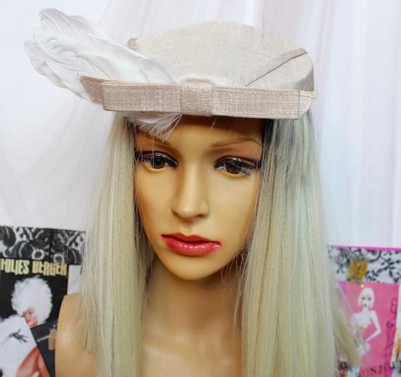 Vintage 50's 60's Creamy Beige Fascinator Hat,Pil… - image 6