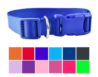Handcrafted Basic Nylon Dog Collar for Pet Walking | Made in USA | 13 Color Choices | XS through XL | New Puppy Collar | Pet Collar