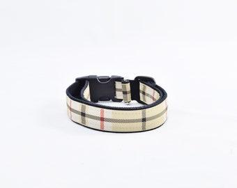 Tan plaid dog collar | Etsy