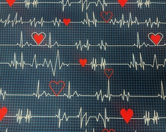 Windham Fabrics Calling All Nurses 37302-1 | Heart Beat Line 100% Quilting Cotton by the Yard or Length |  Material for Health Care Workers