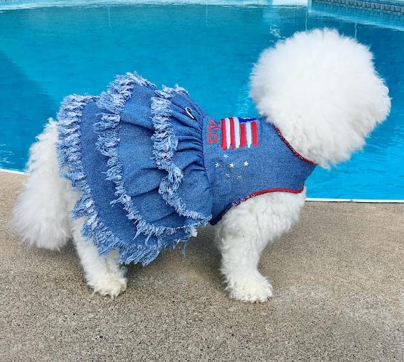 Gray denim dog jacket Denim dog dress Luxury dog coat Dog dress with rhinestones Designer dog outfit Dog couture bitcoin accepted