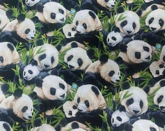 "Elizabeth Studios PANDA BEARS 1329 Black 44/45"" | Animal Fabric by the Yard or Length | 100% Quilting Cotton | Pet Theme Material Fabric"