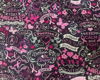 Timeless Treasures GAIL - C3999 Breast Cancer Awareness Fabric by the Yard or Length | 100% Quilting Cotton | Material | Health Care Nurse