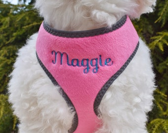Personalized Fur PINK Cute DOG Harness Girl Gift | Adjustable Reflective Safety Harness | FREE Embroidered Name, No Pull Walking Dog Harness