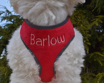 Personalized Plush Padded Soft Red DOG HARNESS | Adjustable Reflective Safety Harness | FREE Embroidered Name | Leash Option for Walking