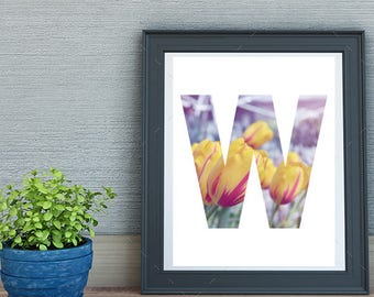 """Floral Letter """"W"""" - Digital Print for Instant Download"""