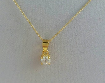 14k Gold Cubic Zirconia Necklace