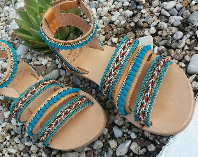Greek Leather Sandals, Pom Pom Sandals, Decorated Sandals, Boho Sandals, Women Sandal, Handmade Gladiator Sandals, Greek Chic