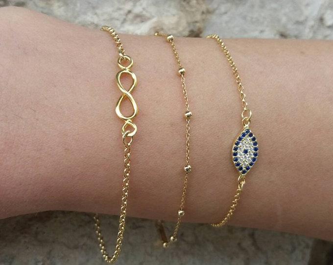 Delicate Bracelet Set of 3, 14k Gold Filled Bracelets, Dew Drop Bracelet, Gold Evil Eye Bracelet, Infinity Bracelet, Satellite Chain
