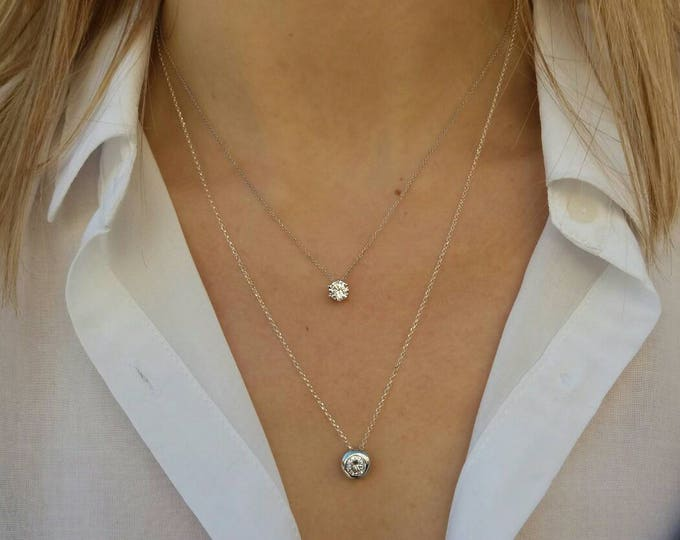 Layered Necklace - Floating Diamond Set - Sterling Silver Necklace - Cubic Zirconia - Bridal Jewelry - Anniversary Gift - Bridesmaid Gift