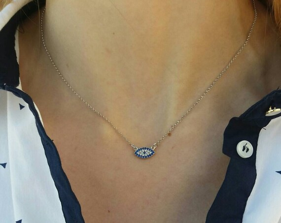 Evil Eye Necklace with blue  zircon • Dainty Silver Necklace • Best Friend Gift