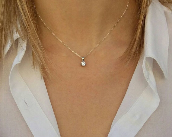 Floating Diamond Necklace - Cubic Zircon Charm - Sterling Silver Necklace - Bridesmaid Gift - Wedding Jewelry - Anniversary Gift