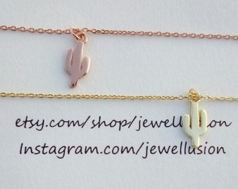 Rose Gold Tiny Cactus Necklace