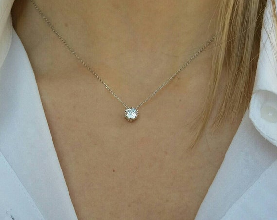 Bridesmaid Gift - Floating Diamond Necklace - Cubic Zirconia Single Diamond Necklace - Dainty Wedding Necklace - 925 Sterling Silver