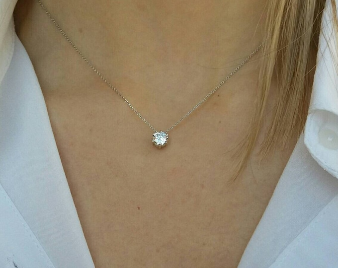 BRIDESMAID GIFT - FLOATING DIAMOND NECKLACE