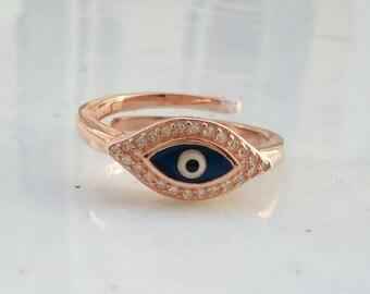 Rose Gold Evil Eye Ring