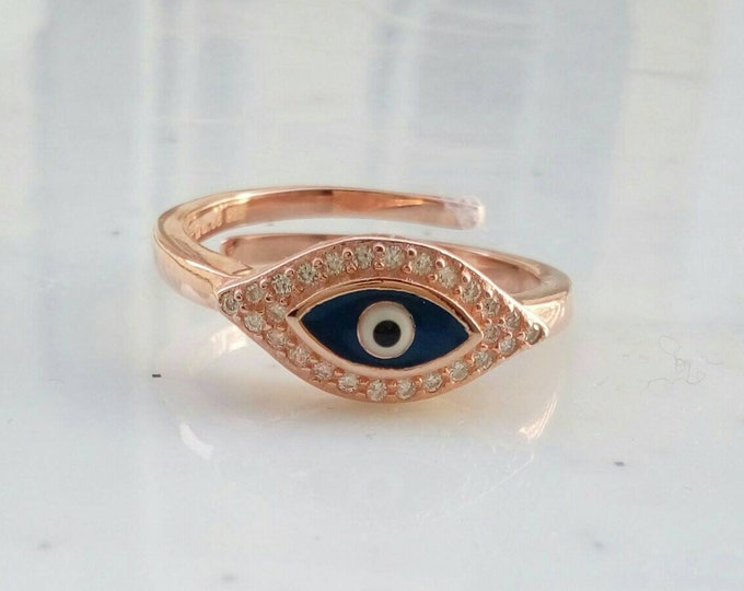 Evil Eye Ring Rose Gold Filled, Blue Evil Eye Ring, Protection Ring, Best Friend Gift, Graduation Gift