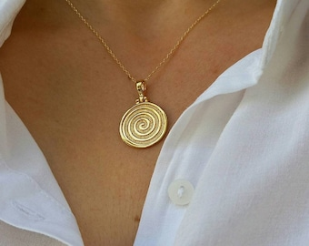 Spiral Necklace, Ancient Greek Necklace, Long Layered Necklace, 14k Gold Fill Necklace, Birthday Gift, Journey of Life, Snake Necklace