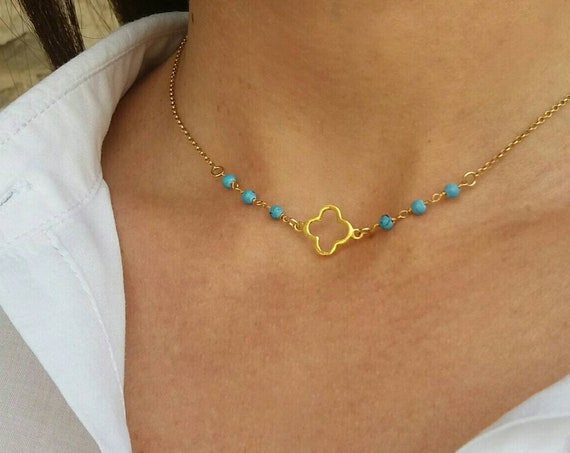 Gold Clover Necklace, Turquoise Clover Necklace, Anniversary Gift, Birthday Gift, Protection Pendant, Lucky Charm, 14k Gold Filled