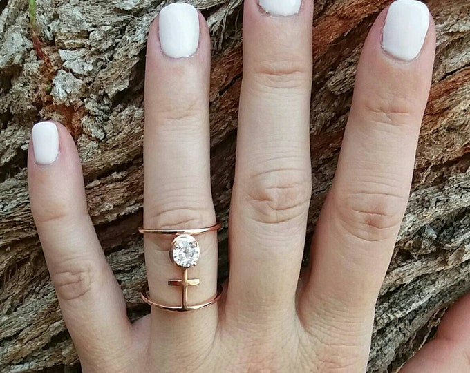 Rose Gold Ring, Cubic Zirconia, Cross Diamond Ring, Everyday Ring, Dainty Ring, Layered, Birthday Gift