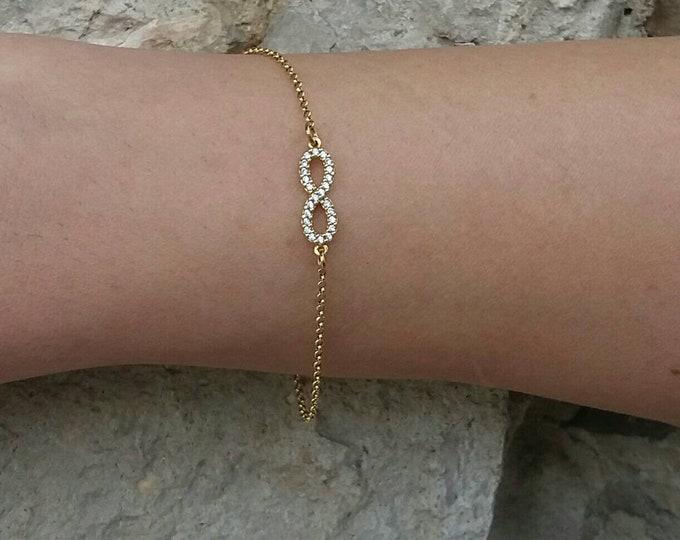 Infinity bracelet,gold filled bracelet, zircon bracelet, dainty infinity bracelet, Cubic zirconia infinity 14k gold filled, protection charm