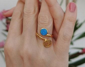 Opal Spiral Ring