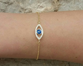 Blue Zircon Evil Eye Bracelet