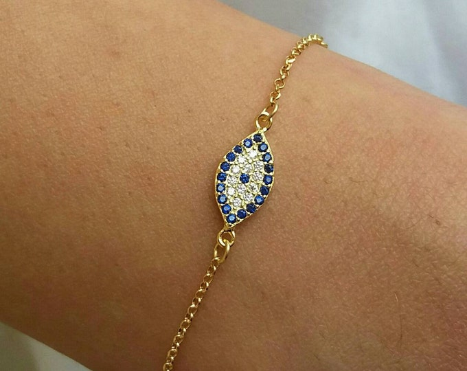 Valentine's Love, Evil Eye Bracelet Gold, Oval Evil Eye, Dainty Evil Eye racelet, 14k Gold Filled, Protection Charm, blue evil eye gold