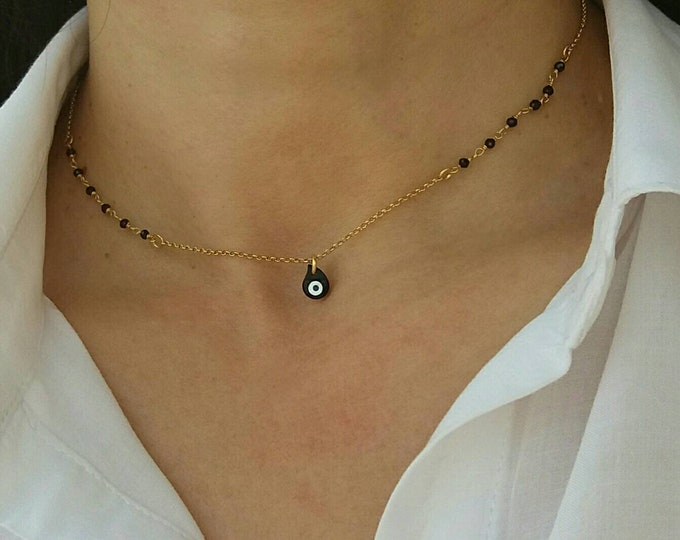 Rosary Necklace, Evil Eye Necklace, Layered Necklace, Dainty Necklace, 14k Gold Filled Necklace, Black Evil Eye Necklace, Protection Charm