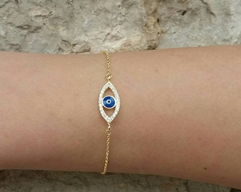 Blue Zircon Evil Eye Bracelet