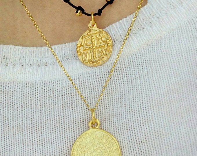 Christian Necklace, Gold Layered Necklace, Phaistos Necklace, 14k Gold Filled Necklace, Birthday Gift, Best Friend Gift,Greek Christian Coin