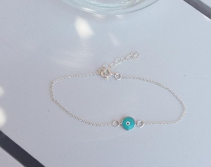 Turquoise Evil Eye Bracelet, Sterling Silver, Dainty Bracelet, Everyday Bracelet, Protection Bracelet, Minimalist Eye Bracelet, Chic